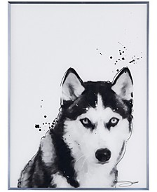 "Siberian Husky Pet Paintings on Reverse Printed Glass Encased with a Gunmetal Anodized Frame Wall Art, 24"" x 18"" x 1"""