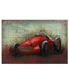"Le Mans Mixed Media Iron Hand Painted Dimensional Wall Art, 32"" x 48"" x 3"""