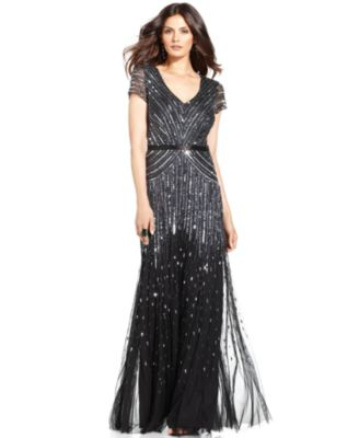 Adrianna Papell Cap-Sleeve Beaded Sequined Gown - Dresses - Women ...