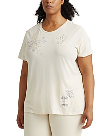 Plus-Size Patch Cotton T-Shirt