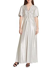 Tahari ASL Twist-Front Metallic Gown