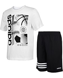 Little Boys Adi 2-Pc. Logo T-Shirt & Shorts Set