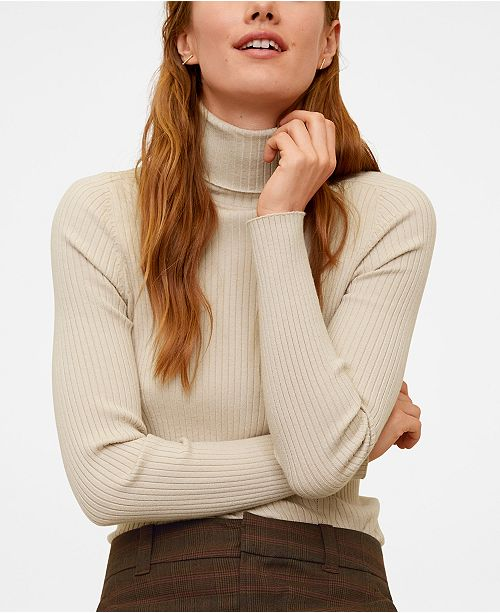MANGO Turtleneck Ribbed Sweater