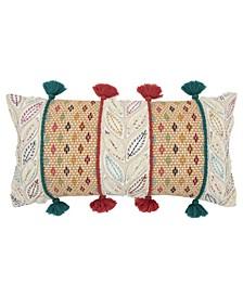 "Geometric Down Filled Decorative Pillow, 26"" x 14"""