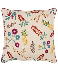 """Floral Down Filled Decorative Pillow, 20"""" x 20"""""""