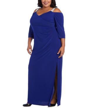 1930s Plus Size Dresses | Art Deco Plus Size Dresses R  M Richards Plus Size Embellished Cold-Shoulder Gown $109.00 AT vintagedancer.com