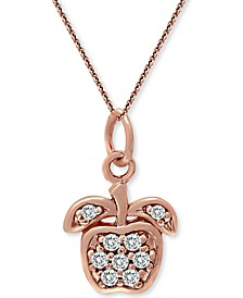 "Cubic Zirconia Apple Pendant Necklace in 18k Rose Gold-Plated Sterling Silver, 18"" + 2"" extender, Created for Macy's"