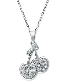 """Cubic Zirconia Cherries Pendant Necklace in Sterling Silver, 18"""" + 2"""" extender, Created for Macy's"""