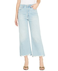 Leigh Frayed Wide-Leg Jeans
