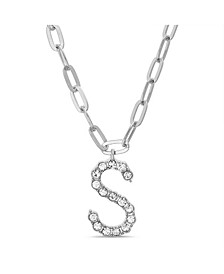 "Women's Silver-Tone Rhinestone ""S"" Initial Necklace"