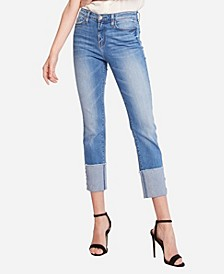 High Rise Wide Cuff Slim Straight Crop Jeans