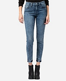 Mid Rise Acid Wash Skinny Ankle Jeans