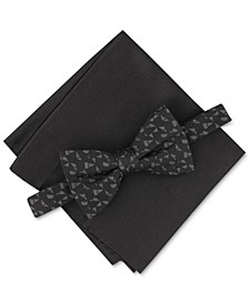 Men's Pre-Tied Abstract Geo Bow Tie & Solid Pocket Square Set, Created for Macy's