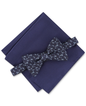 Alfani Men's Pre-Tied Abstract Geo Bow Tie & Solid Pocket Square Set, Created for Macy's