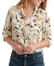 Floral-Print Utility Shirt