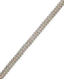 Diamond Accent Leaf Bracelet in 18k Gold over Sterling Silver-Plated Brass