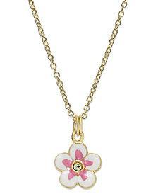 Children's  18k Gold over Sterling Silver Necklace, Flower Pendant