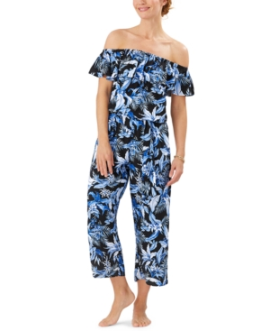 Tommy Bahama Indigo Garden Off-The-Shoulder Cover-Up Jumpsuit Women's Swimsuit