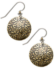 Jody Coyote Sterling Silver Earrings, Bronze Daisy Drop Earrings