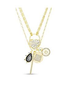 Rhinestone Heart and Lock Charm Multi Layered Necklace