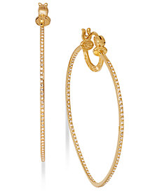 SIS by Simone I Smith 18k Gold over Sterling Silver Earrings, Crystal In and Out Hoop Earrings