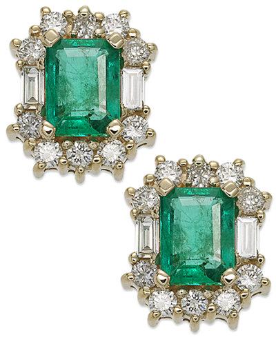 14k Gold Earrings, Emerald (1-9/10 ct. t.w.) and Diamond (7/8 ct. t.w.) Stud Earrings