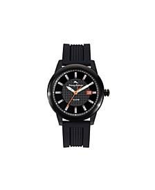 Men's Gulf Shore Sport Black Silicone Strap Watch, 44mm