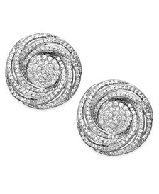 Wrapped In Love™ Diamond Pave Knot Stud Earrings in Sterling Silver (1 ct. t.w.), Created for Macy's