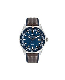 Men's Ocean Sport Diver Leather and Nylon Strap Watch, 48mm