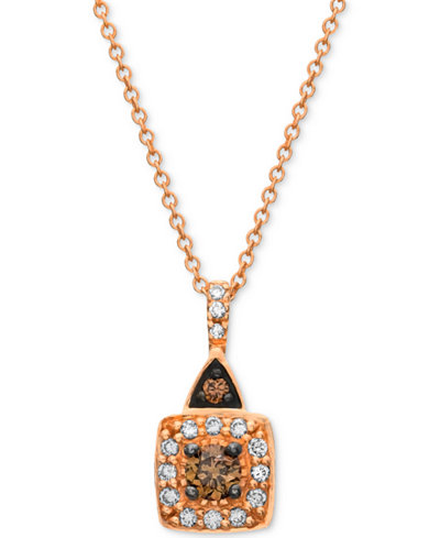 Chocolate by Petite Le Vian® Chocolate and White Diamond (1/4 ct. t.w.) Square Pendant in 14k Rose Gold