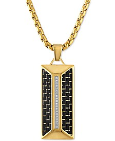 "Diamond Dog Tag 22"" Pendant Necklace (1/10 ct. t.w.) in Black Carbon Fiber & Gold-Tone Ion-Plated Stainless Steel, Created for Macy's"