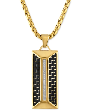 """Diamond Dog Tag 22"""" Pendant Necklace (1/10 ct. t.w.) in Black Carbon Fiber & Gold-Tone Ion-Plated Stainless Steel"""