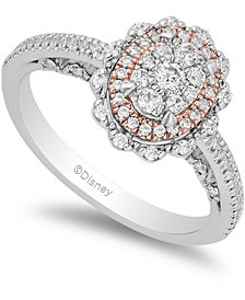 Enchanted Disney Diamond Ariel Engagement Ring (1/2 ct. t.w.) in 14k White & Rose Gold