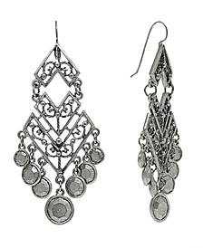 by 1928 Pewter Tone Large Chevron Chandelier Earring