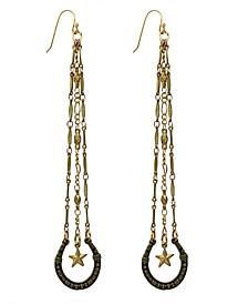 by 1928 Lucky Horseshoe and Star Charm Linear Earring