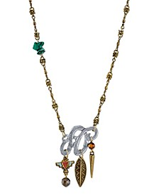by 1928 Mixed Metal Necklace with Semi-Precious Malachite Labradorite and Tigers Eye