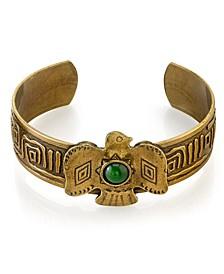 by 1928 Native American Thunderbird Semi-Precious Green Jade Cuff Bracelet