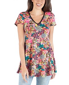 Flared Tunic Top with V-Neck Floral Design