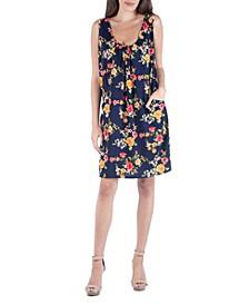 Floral Print Sleeveless Mini Dress with Pockets