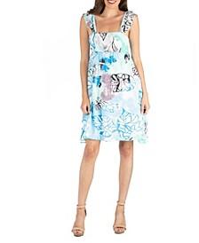 Ruffle Strap Floral Sleeveless A-Line Dress