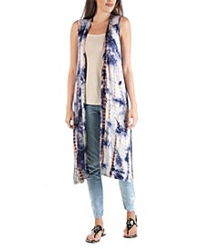 Bohemian Tie Dye Sleeveless Long Cardigan with Side