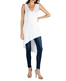 Long Sleeveless Tunic Top with V-Neck and Asymmetric Hem
