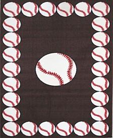 """Fun Time Baseball Time 19"""" x 29"""" Area Rug"""
