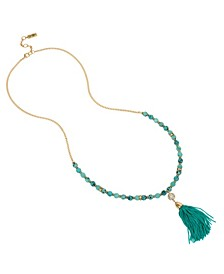 "Tassel Pendant Turquoise Long Necklace, 31"" + 2"" Ext"