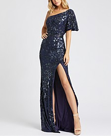 One-Shoulder Butterfly-Sleeve Sequinned Gown