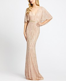Cape-Sleeve Sequinned Gown