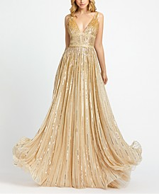 Ombre Sequinned Embellished Gown