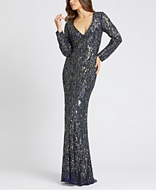 Beaded Long-Sleeve Gown
