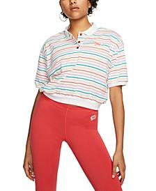 Women's Cotton Striped Cropped Polo