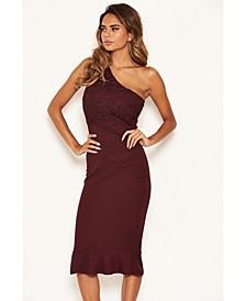 Women's One Shoulder Crochet Top Dress